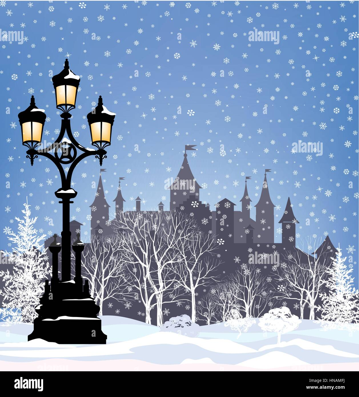 Winter Holiday Snow City Background. Merry Christmas