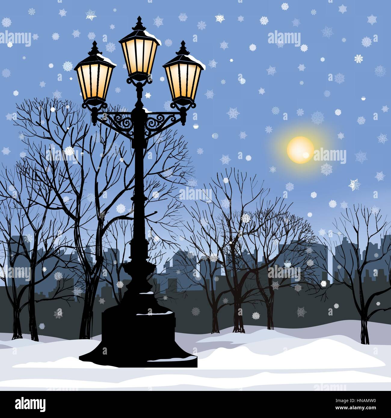 Park alley in snow with steel light. Snowy street. Christmas background.