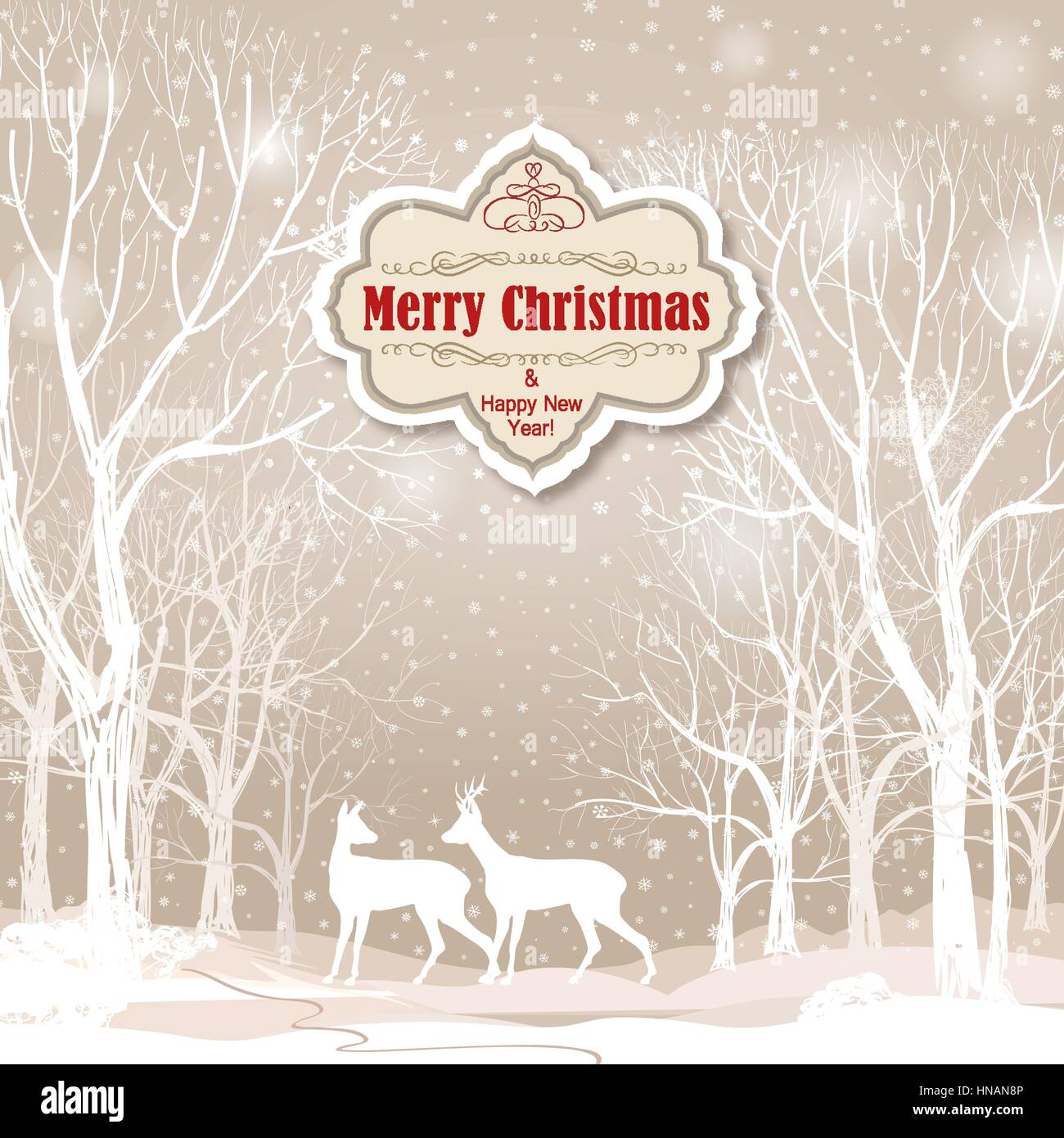snow winter landscape with two deers merry christmas background with HNAN8P