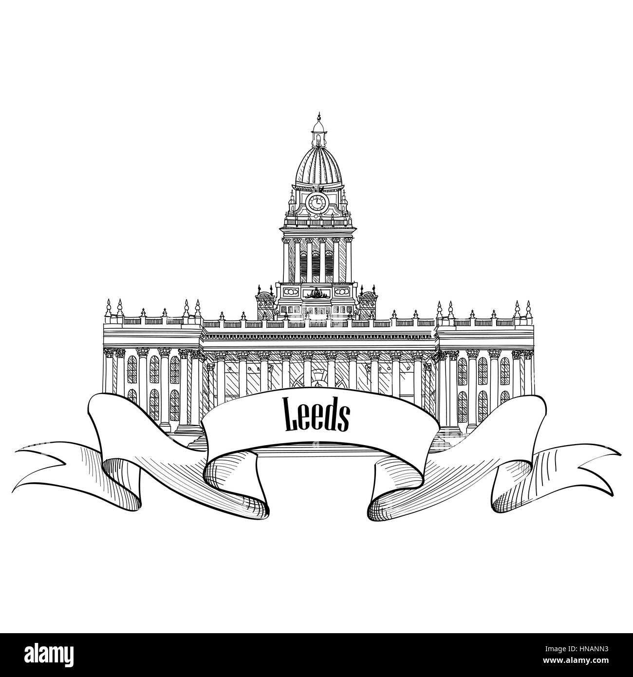 Travel England sign. Leeds Rathaus, UK, Great Britan. English city famous building. Vector label isolated. - Stock Image