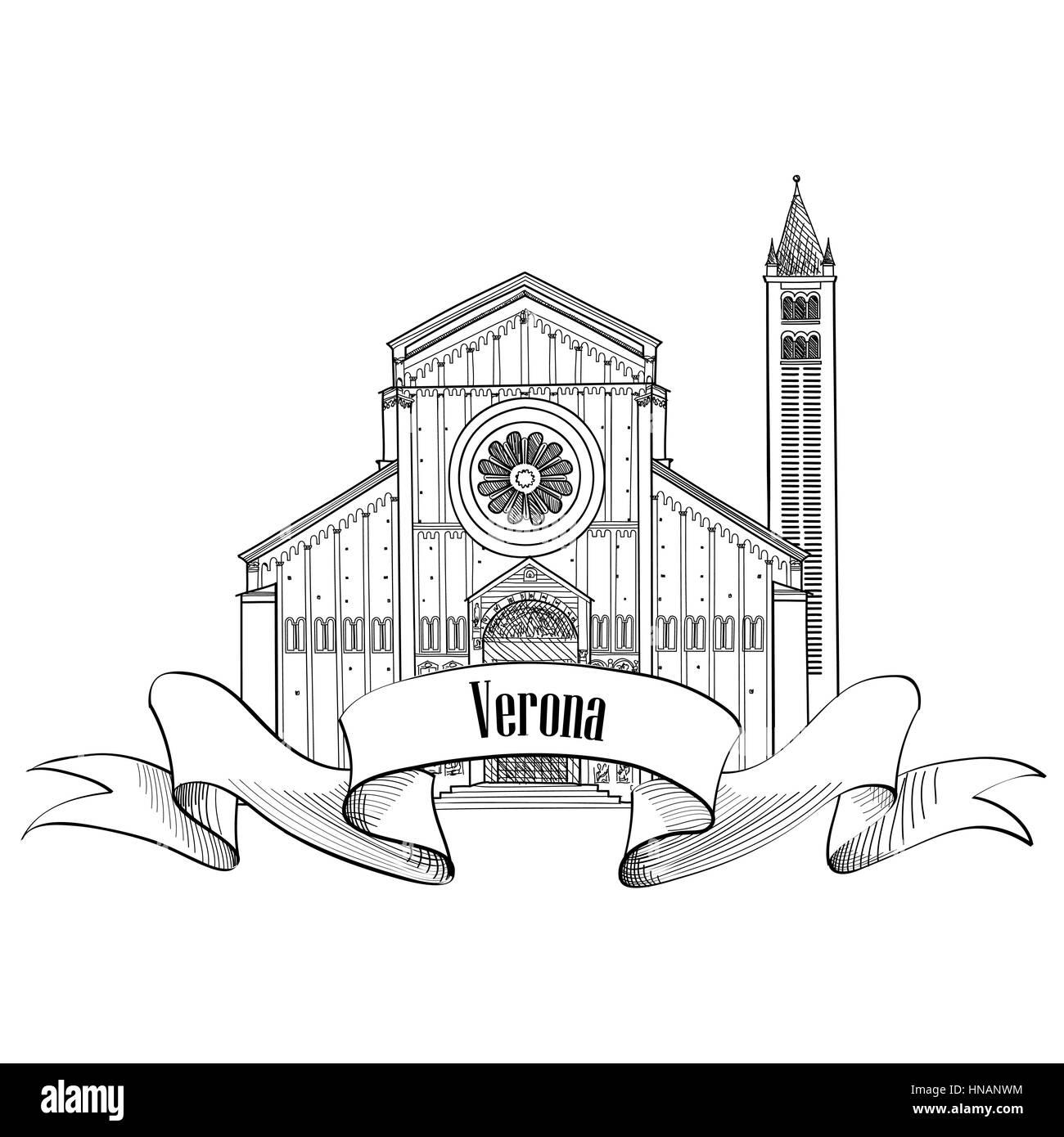 Verona city label. travel Italy icon. Famous italian building Church of San Zeno sketch. Sightseeing icon. - Stock Vector