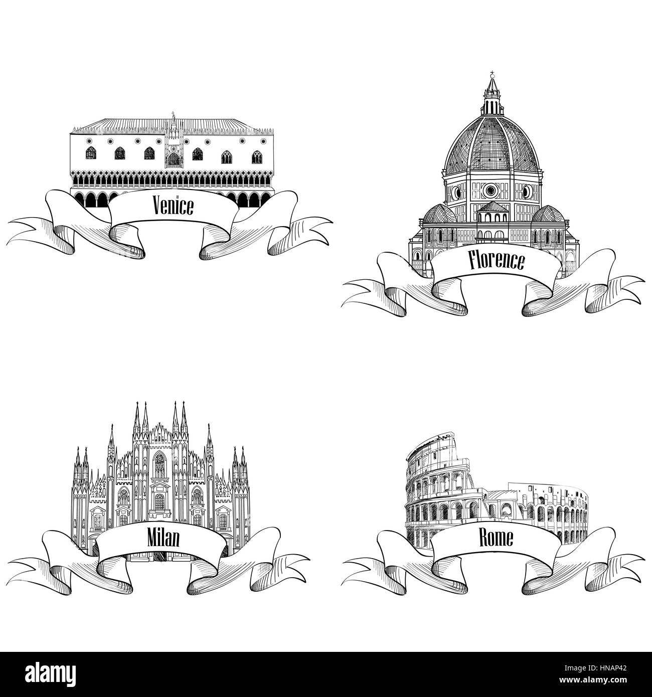 Famous italian city label set: Rome, Milan, Venice, Florence. Landmarks of Italy: Dome cathedral in Milan, Doge's - Stock Vector