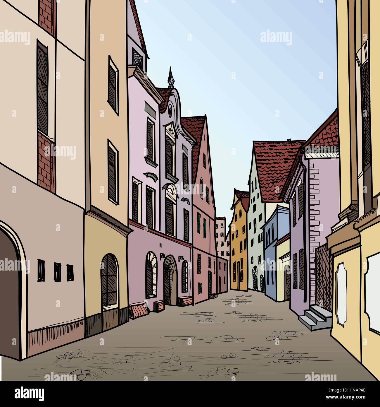 Old town. Pedestrian street in the old european city. Historic city street. Hand drawn sketch. Vector illustration. Stock Vector