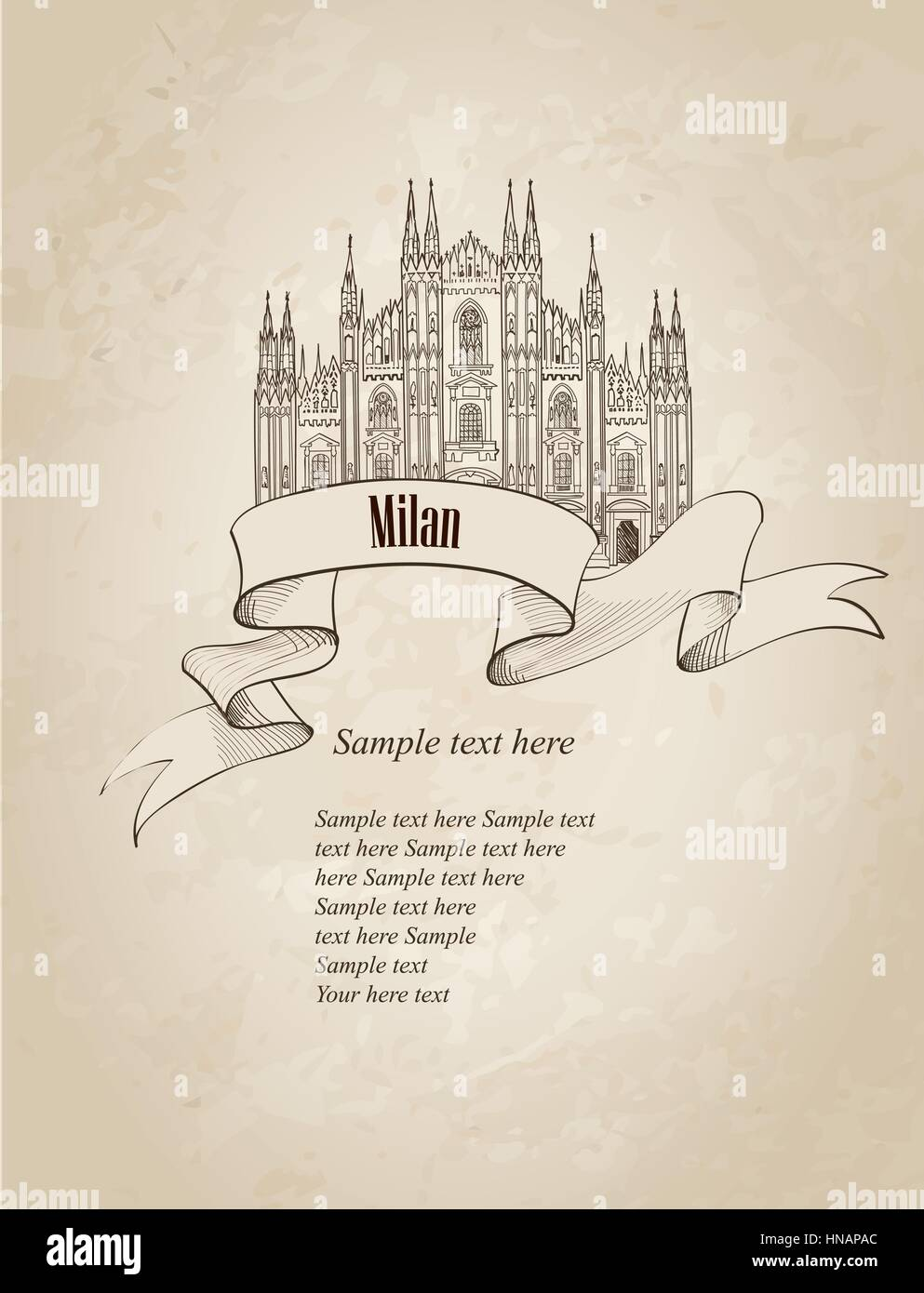 Milan citiy symbol Dome Cathedral. Italian landmark label over old paper background with copy space. Travel Italy - Stock Vector