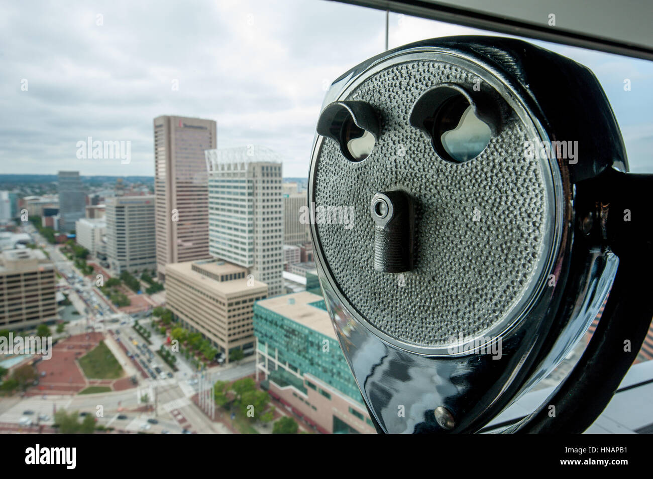A viewing machine on the 27th floor of Baltimore's World Trade Center building. - Stock Image