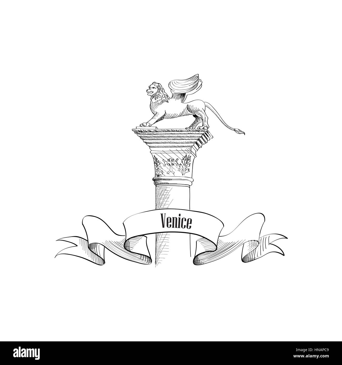 Venice citiy symbol Sa Marco on statue. Italian landmark label isolated over white background with copy space. Travel - Stock Vector
