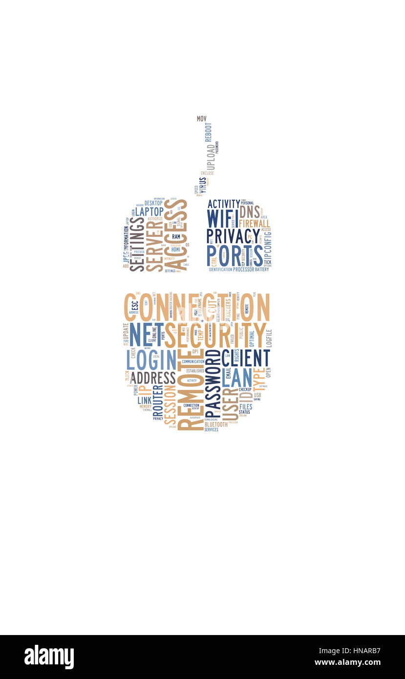 Word cloud featuring concepts referred to computers - Stock Image