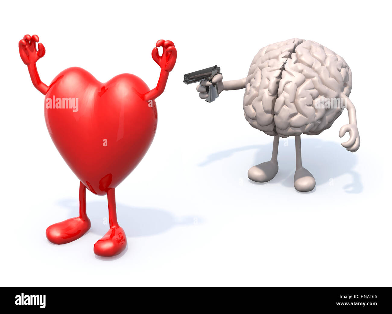 heart and brain with arms and legs, brain has a gun and points it at the heart who has his hands up - Stock Image