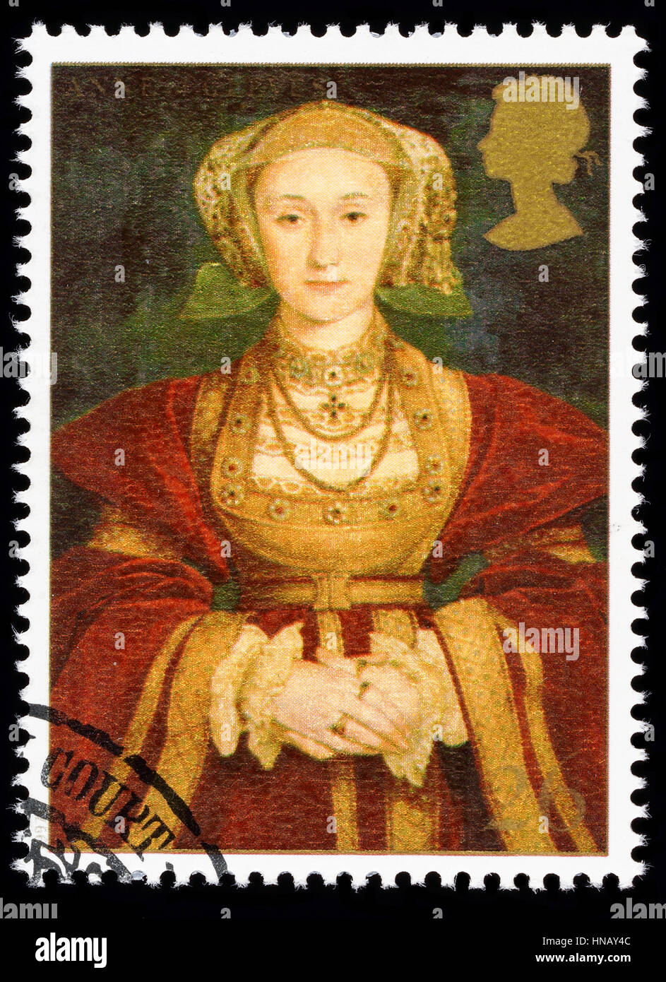 UNITED KINGDOM - CIRCA 1997: used postage stamp printed in Britain commemorating King Henry 8th showing Anne of - Stock Image