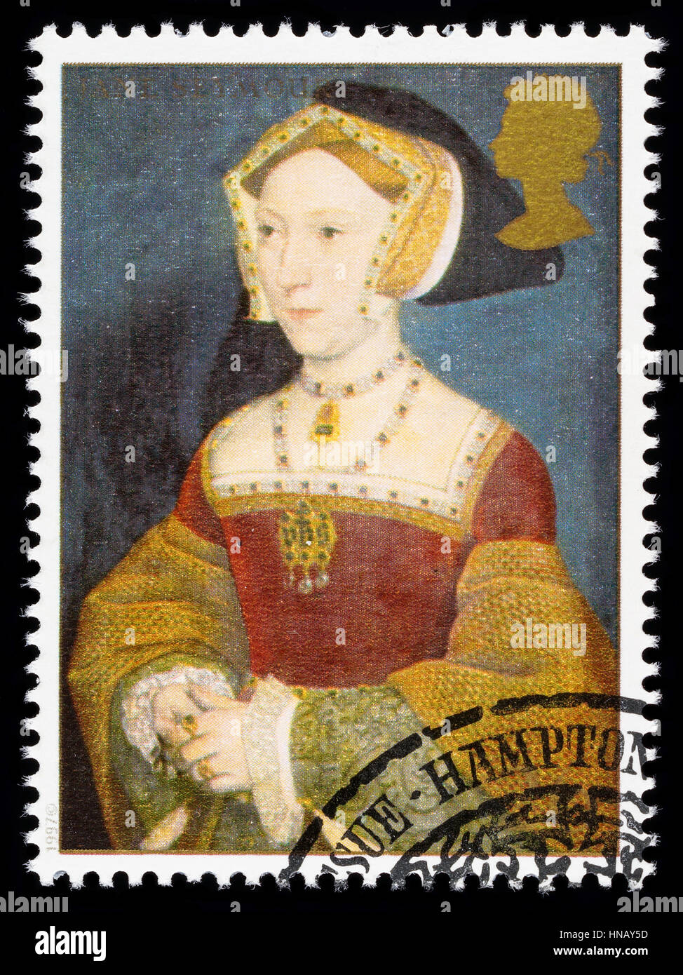 UNITED KINGDOM - CIRCA 1997: used postage stamp printed in Britain commemorating King Henry 8th showing Jane Seymour - Stock Image