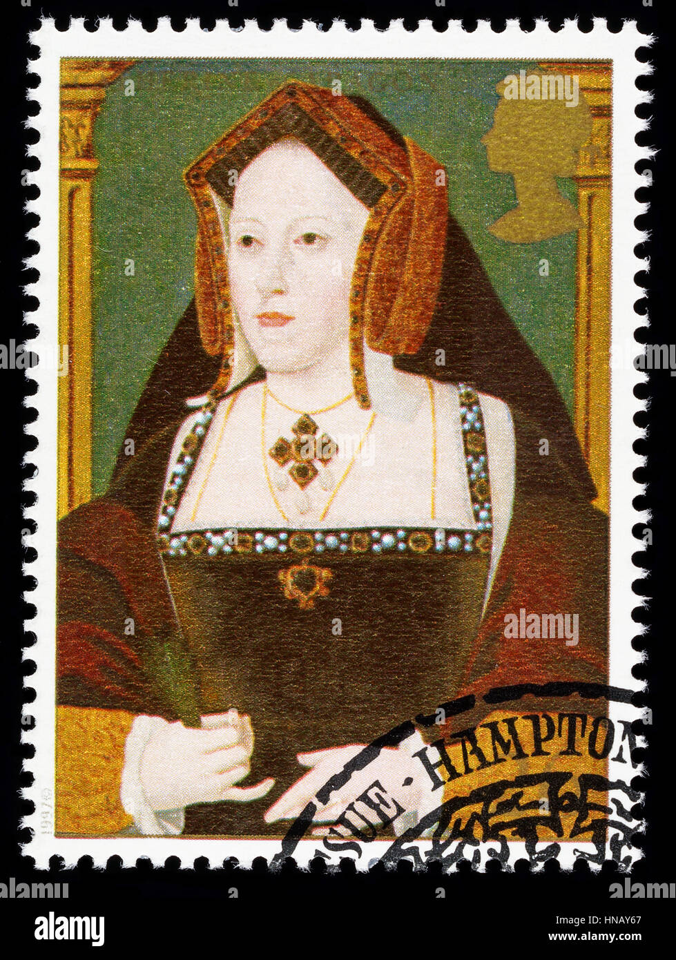 UNITED KINGDOM - CIRCA 1997: used postage stamp printed in Britain commemorating King Henry 8th showing Catherine - Stock Image