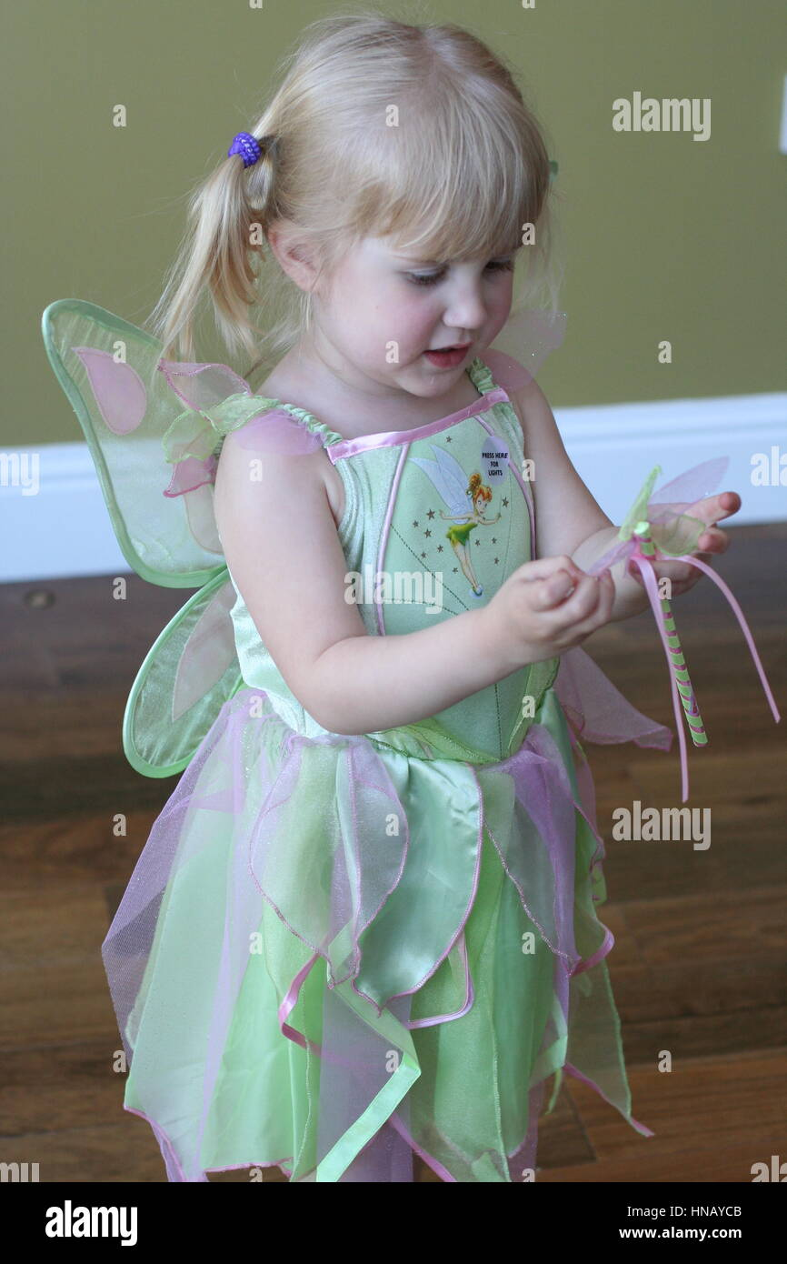 Little 3 year old girl child kid dressed up in a Disney Tinkerbell ...