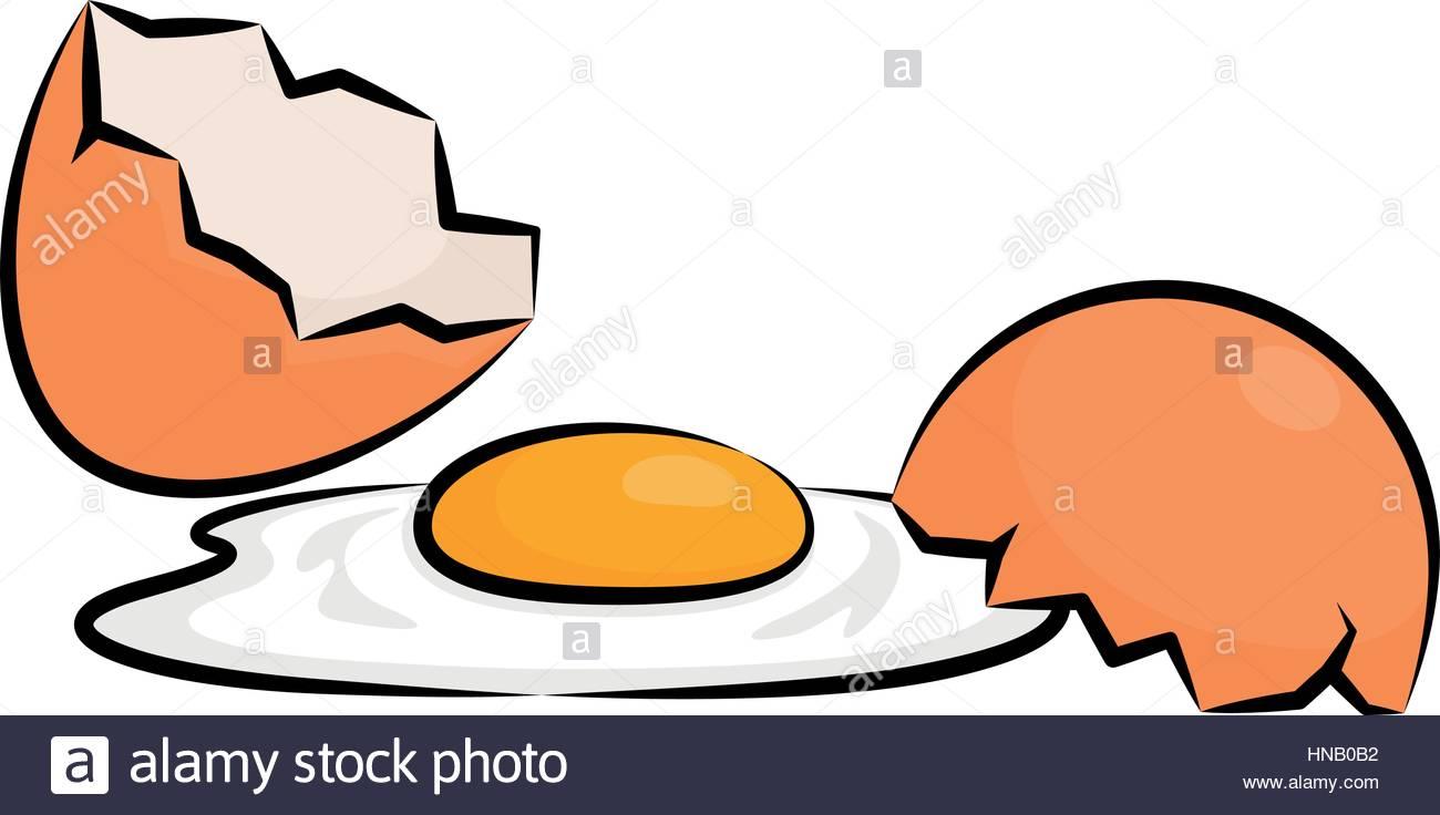Vector Illustration Of A Broken Egg - Stock Vector