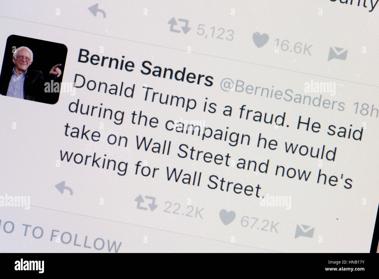Senator Bernie Sanders Twitter account  on mobile phone screen - USA Stock Photo