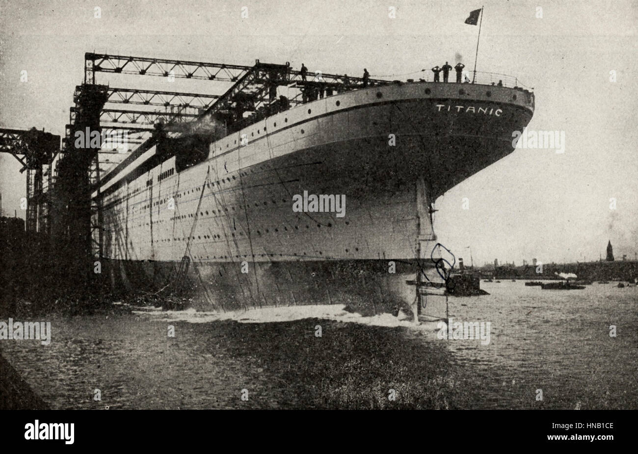 The Titanic being built.  This photo has been represented as the Titanic, and clearly says as much, but quite probably - Stock Image