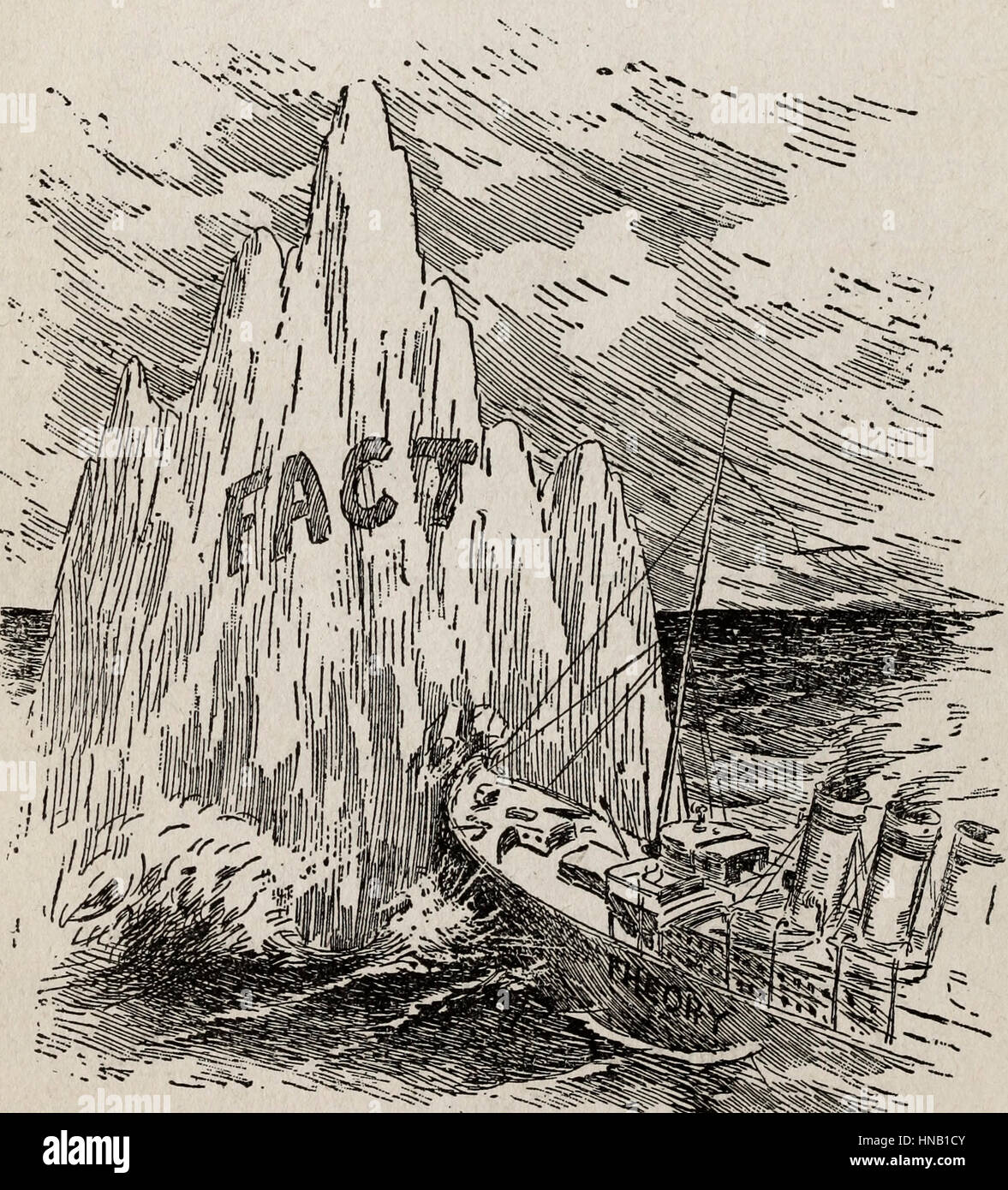 The Theory of the Titanic (unsinkable) hitting the Fact of the Iceberg - Stock Image