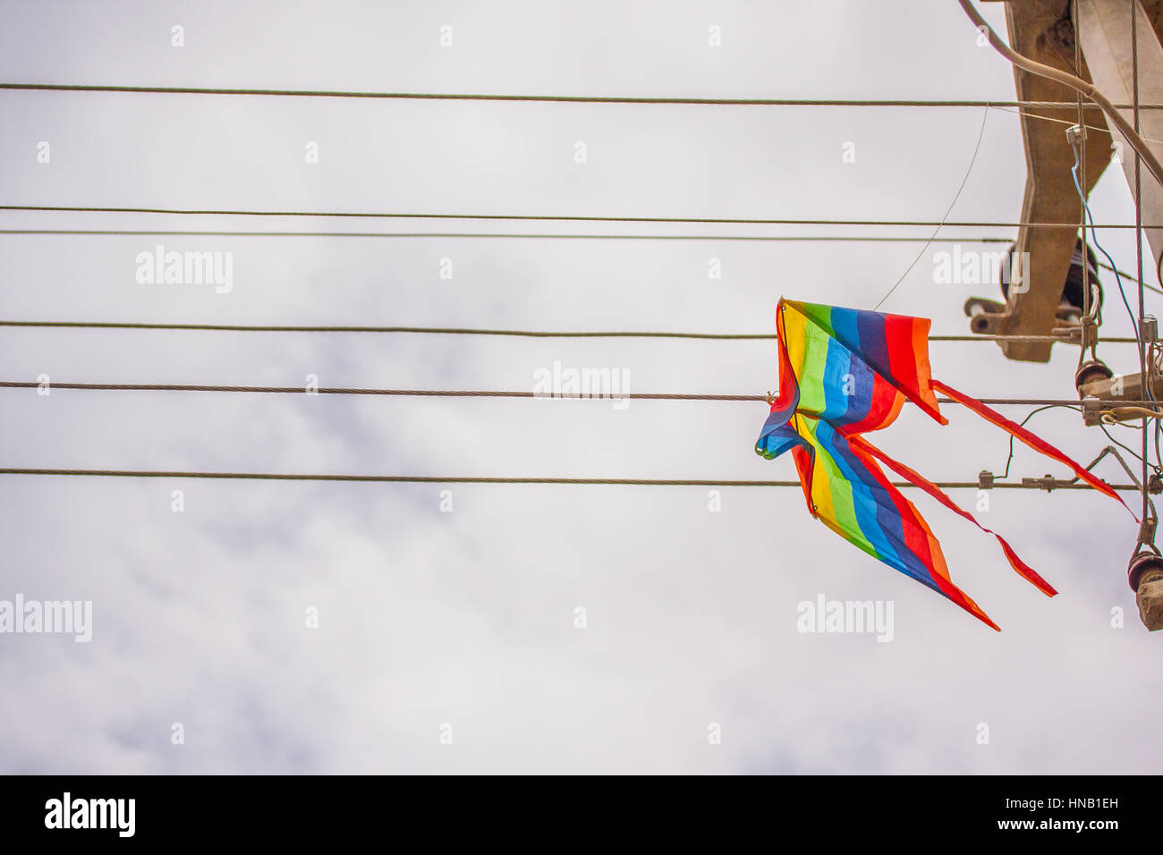A kite stuck on a power line. Stock Photo
