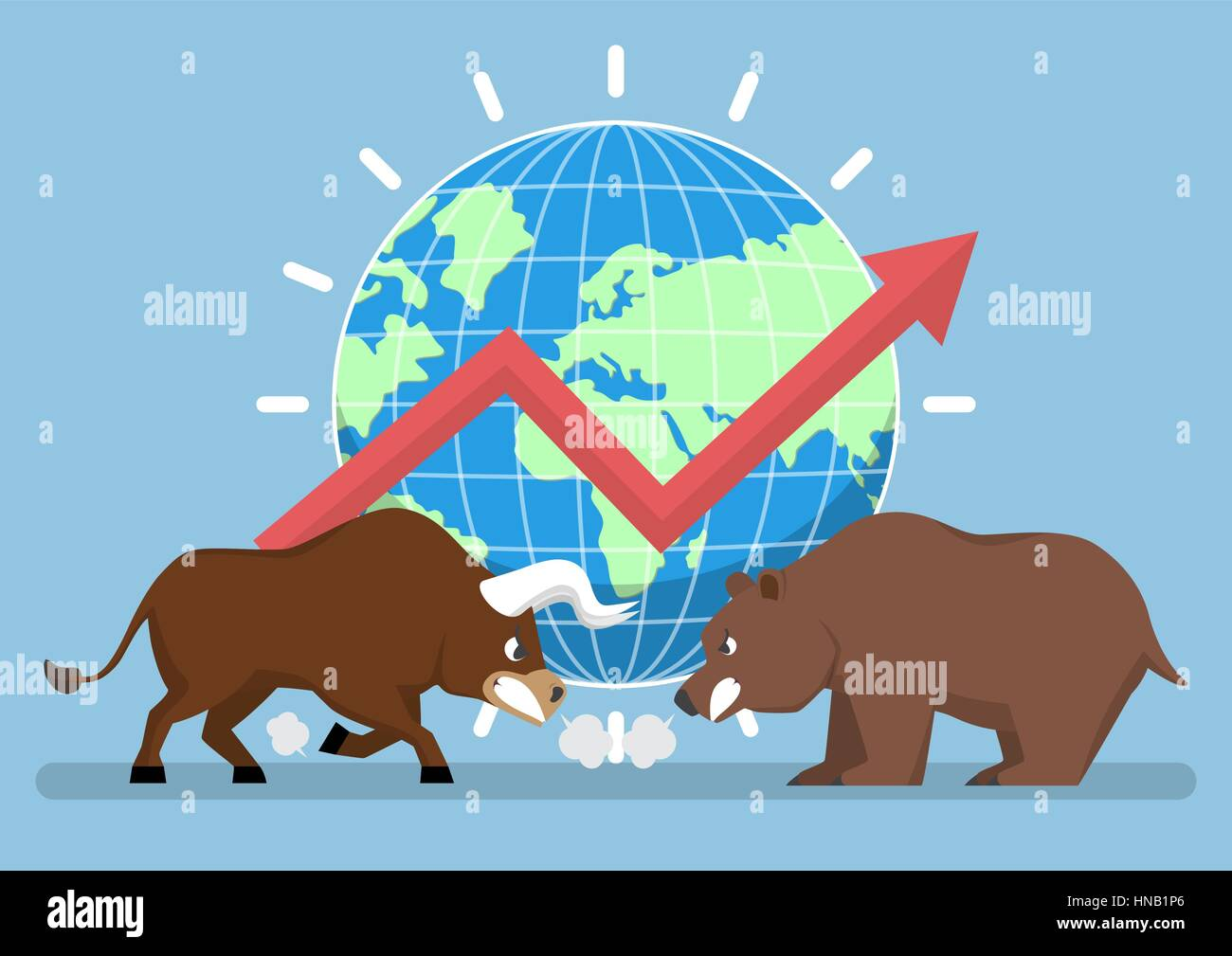Bull and bear with world and graph in background, stock market trend concept - Stock Image