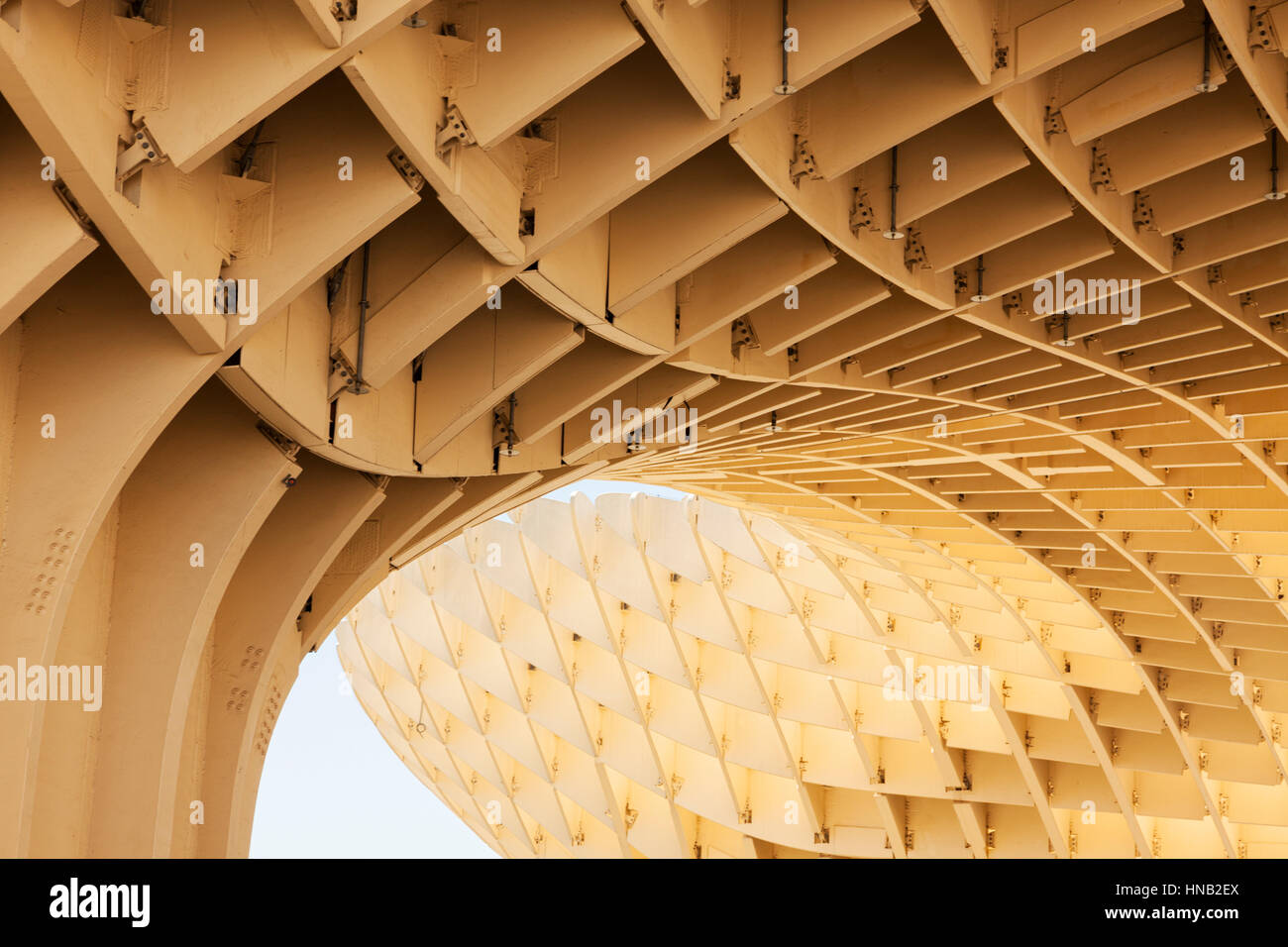 Seville, Spain - May 1, 2016: Detail view of the wooden construction the Metropol Parasol building is made of. - Stock Image