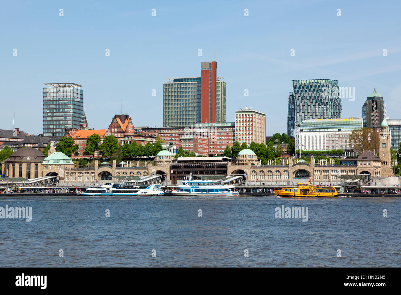 Hamburg, Germany - May 19, 2015: The St. Pauli Piers on the Elbe river, the largest landing place in the Port of - Stock Image