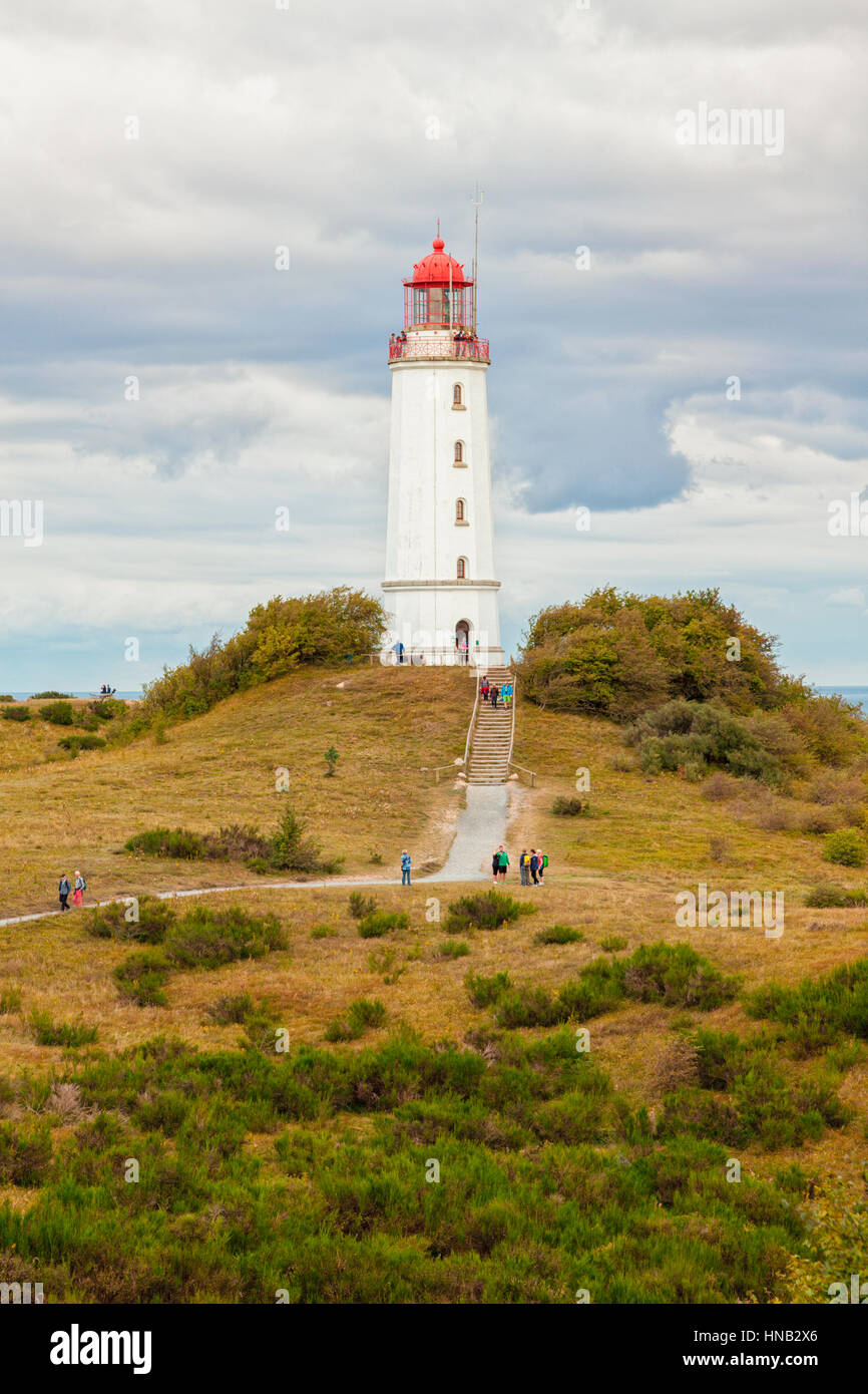 Hiddensee, Germany - September 19, 2016: Tourists visiting Dornbusch lighthouse at the northern tip of Hiddensee - Stock Image