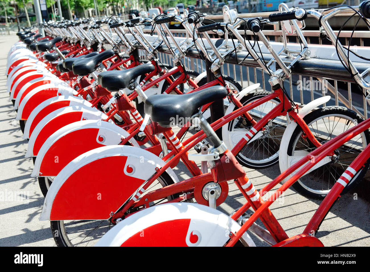 Bicycle parking sharing station in Barcelona, Spain, Europe - Stock Image