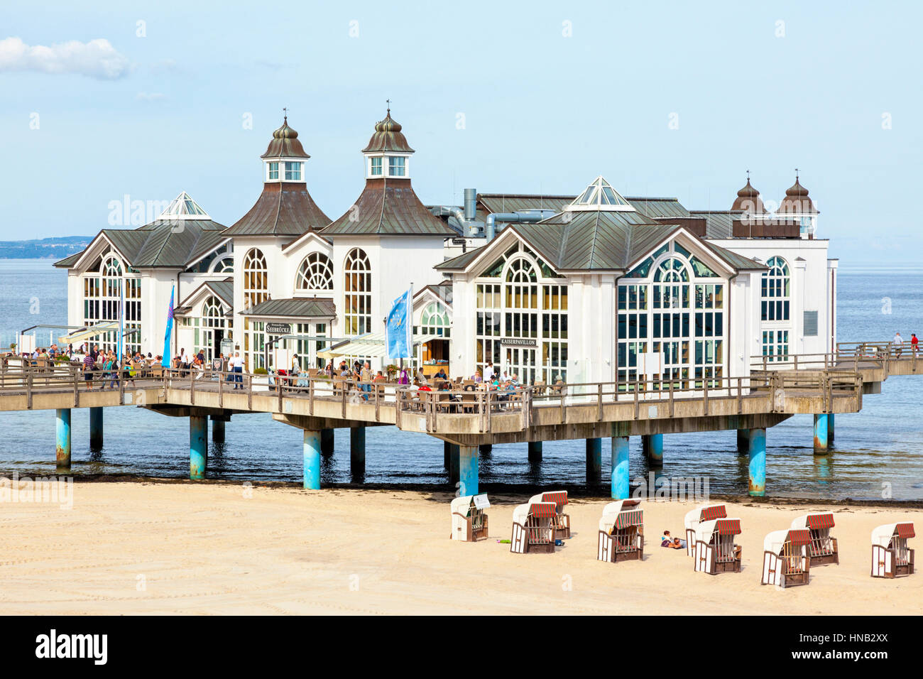 Sellin, Germany - September 22, 2016: Main building of the pier at Sellin, Rugia island. Reconstruction of the building - Stock Image