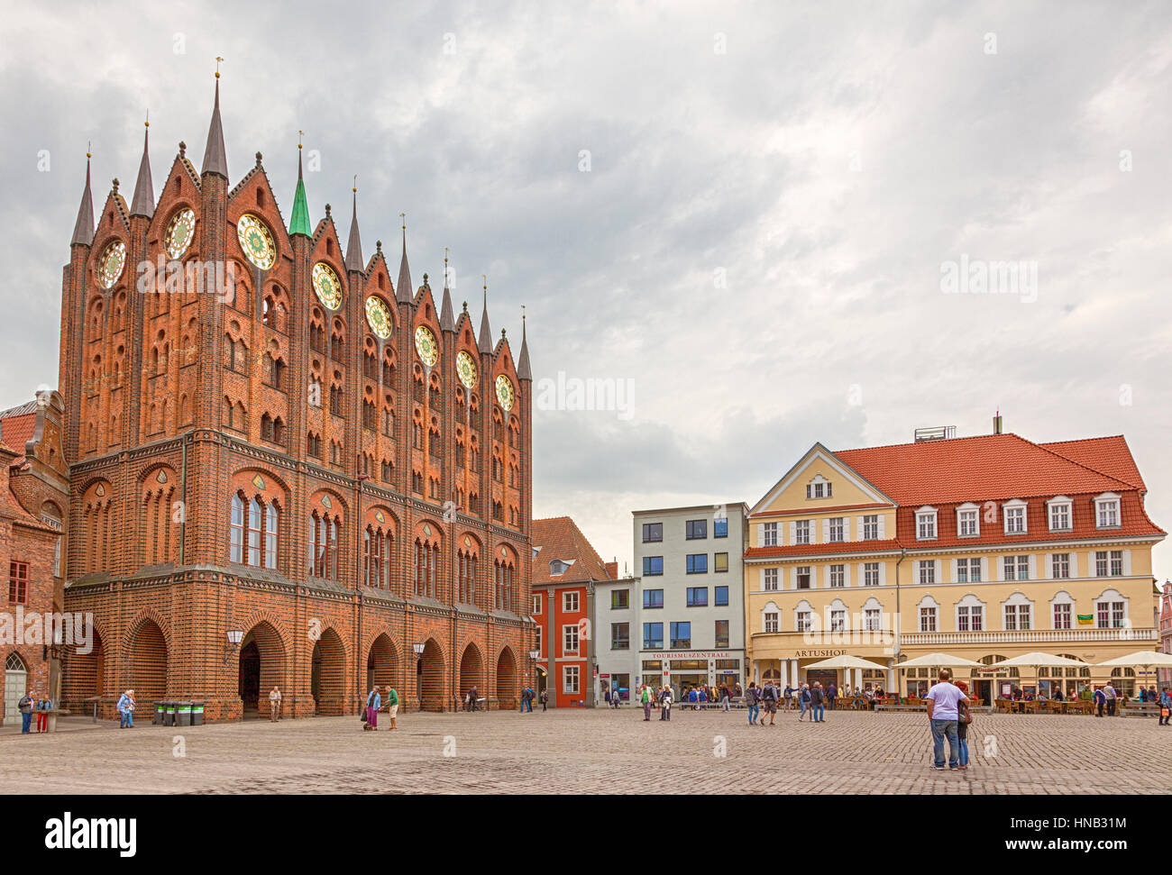 Stralsund, Germany - September 23, 2016: Alter Markt, the central square of Stralsund with the gothic town hall. - Stock Image