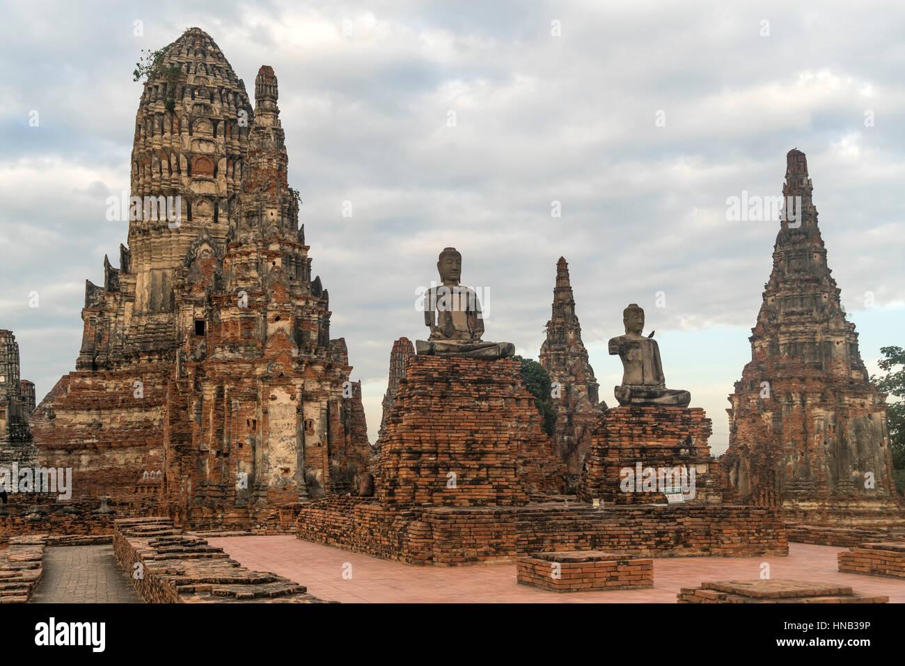 buddhistische Tempelanlage Wat Chai Watthanaram  im Geschichtspark Ayutthaya,  Thailand, Asien     Buddhist temple - Stock Image