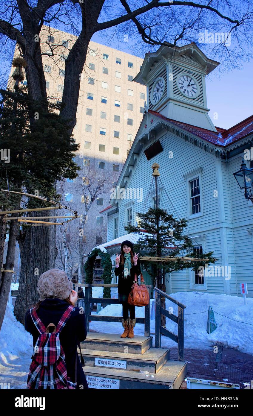 Clock Tower,Sapporo, Hokkaido, Japan Stock Photo