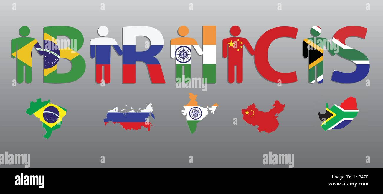 Brics peoples and letters in the colors of the flag and map brazil peoples and letters in the colors of the flag and map brazil russia india china south africa gumiabroncs Images