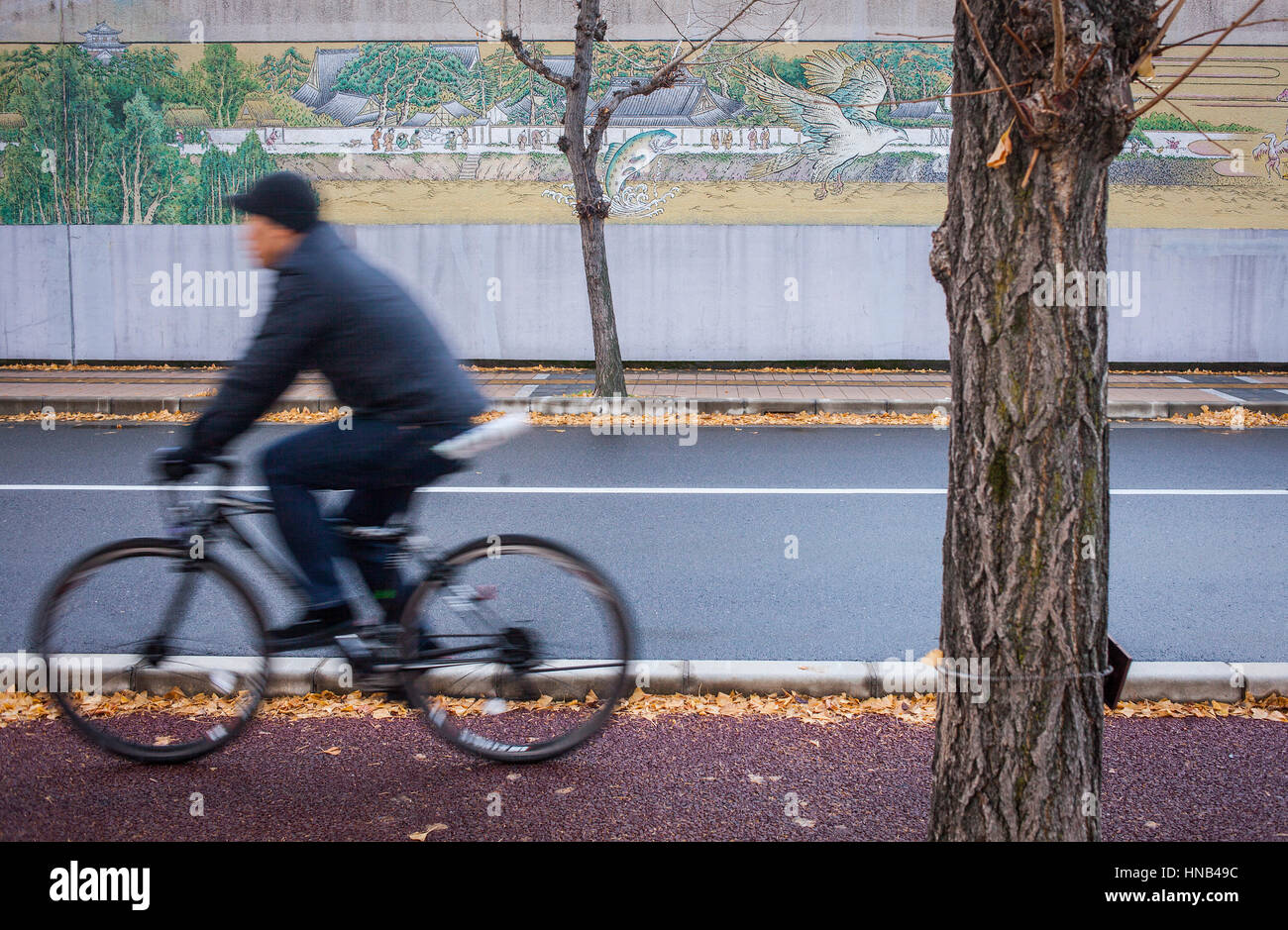 Biking, Mural of Hiroshima Detention House, Hiroshima, Japan - Stock Image