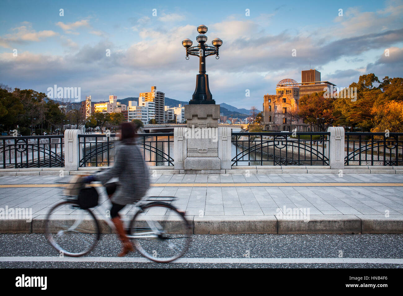 Heiwaohashi bridge,in background at right Atomic Bomb Dome, Hiroshima, Japan Stock Photo