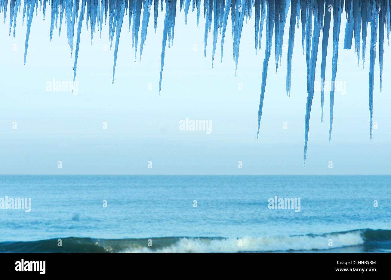 the frozen sea, winter, icicles on the sea - Stock Image