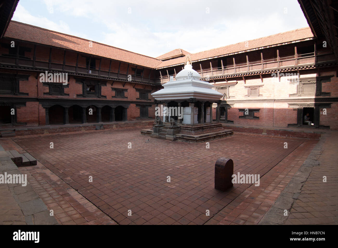 Courtyard of a building built in the traditional Nepalese style in Bhaktapur, Kathmandu Stock Photo