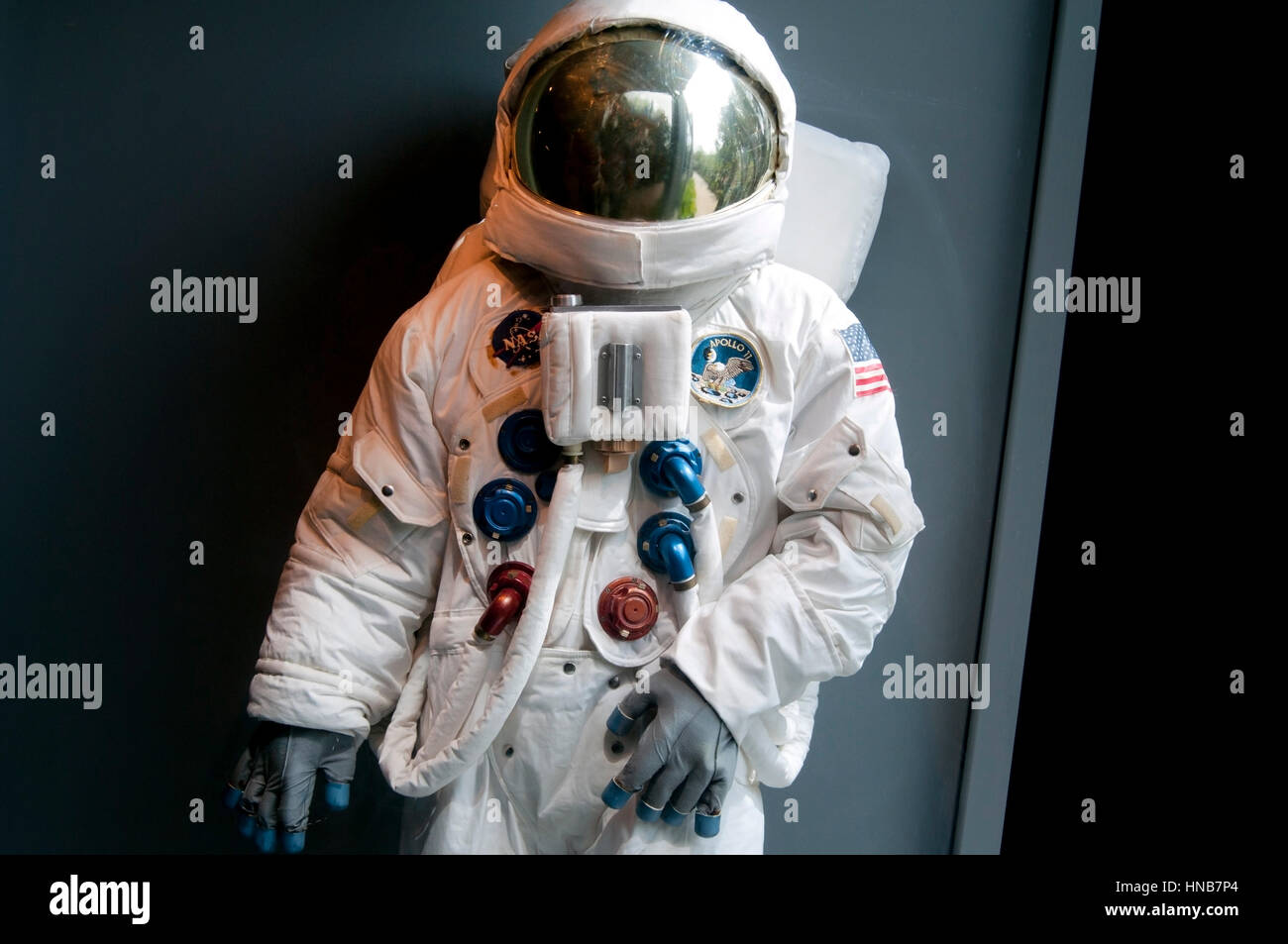 space suit shown for tourists in a museum - Stock Image