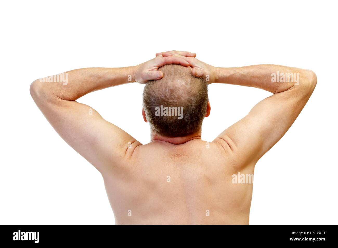 Picture of an stressful man touching his head - Stock Image