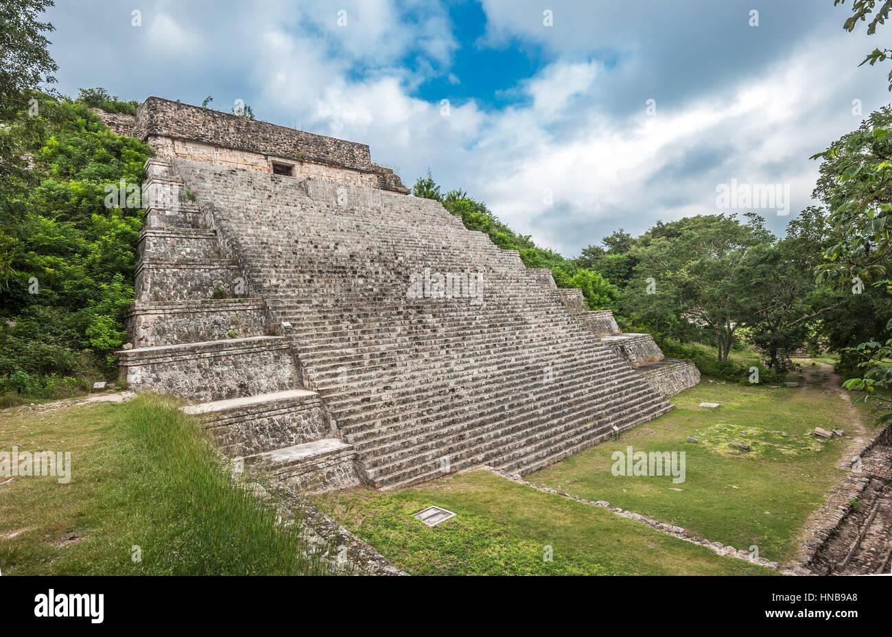 The great pyramid in Uxmal, Yucatan, Mexico - Stock Image