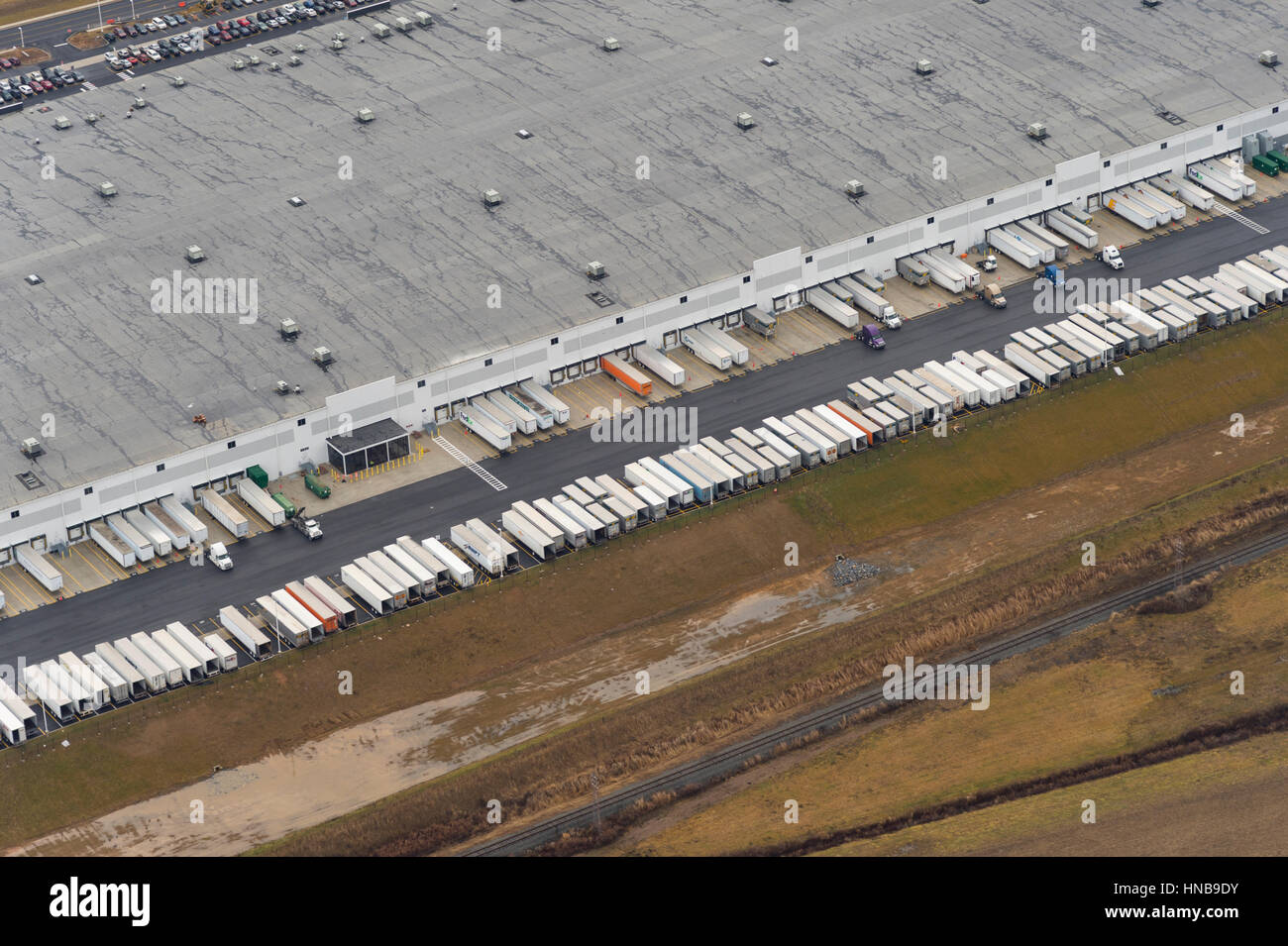 Distribution Center Aerial View - Stock Image