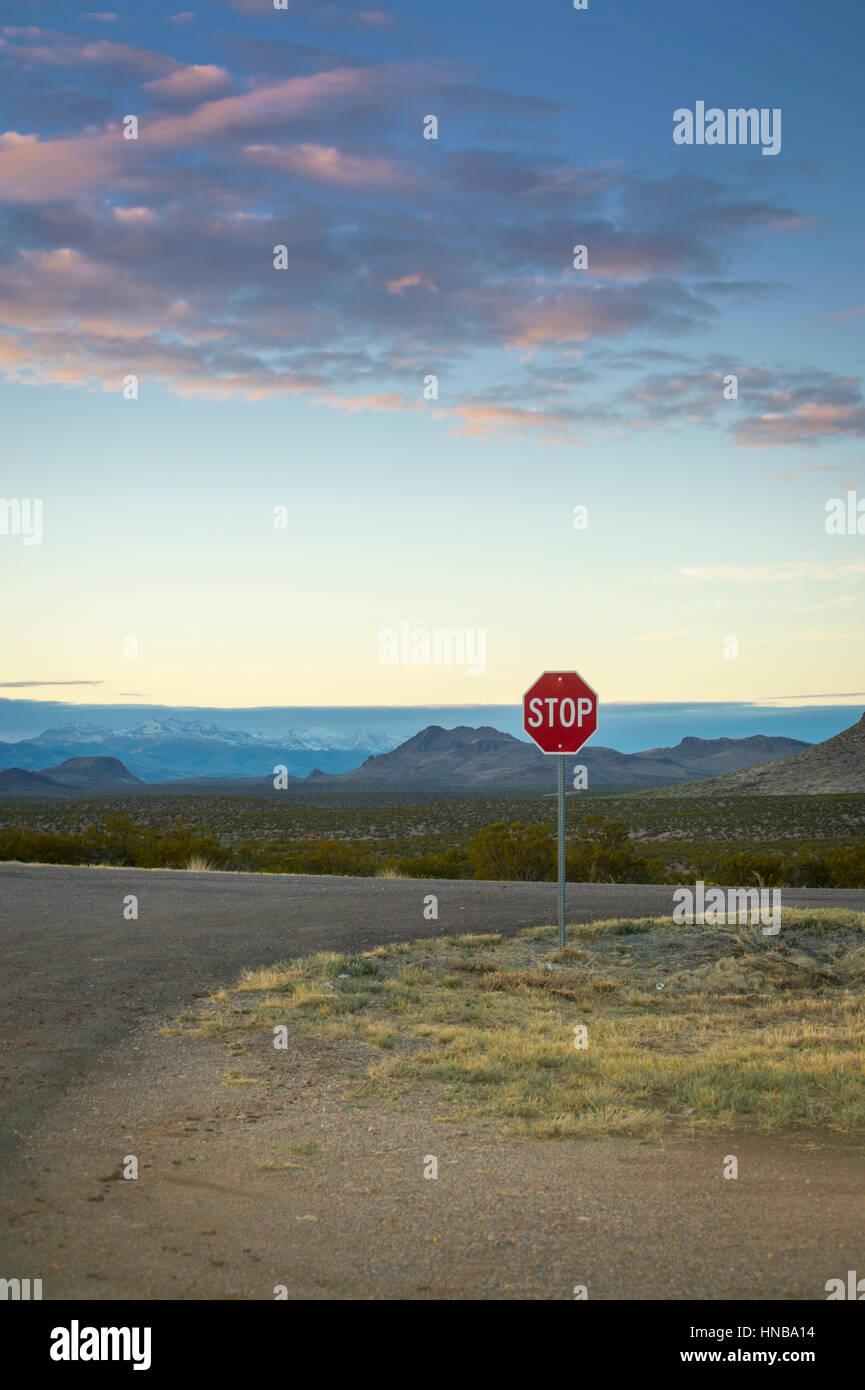 Stop Sign At Desert Highway, Arizona USA - Stock Image