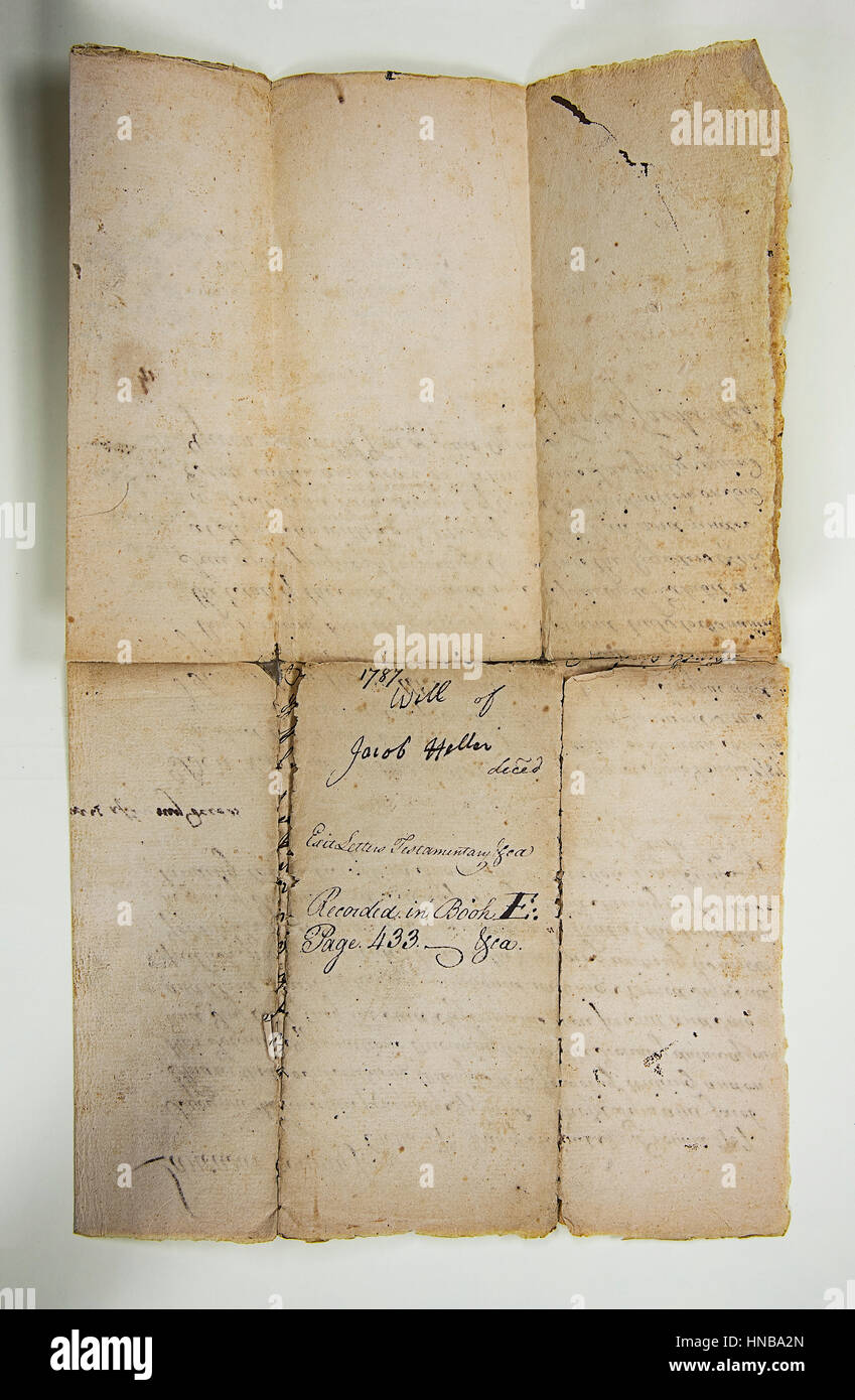 Old Handwriting On Yellowed Parchment - Stock Image