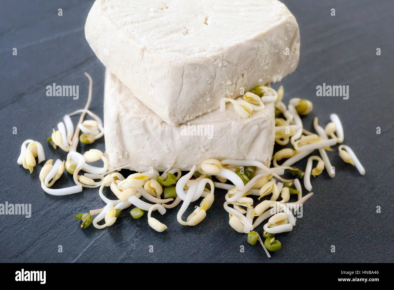 Raw tofu pieces on a stone base of the board and soybeans, the raw material from which we get the tofu. - Stock Image