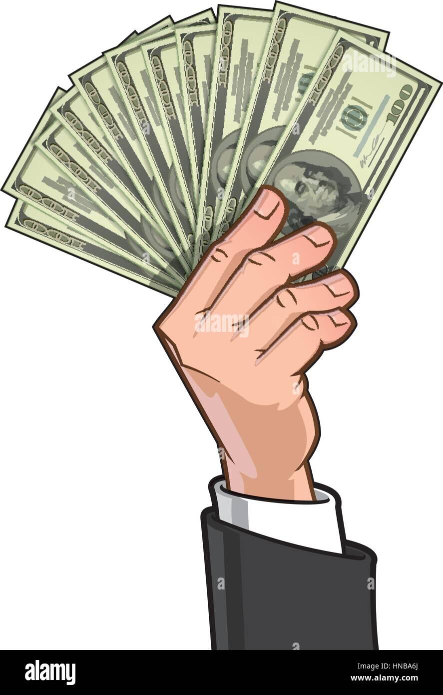 Vector illustration of a businessman's hand showing ten hundred-dollar bills. - Stock Vector