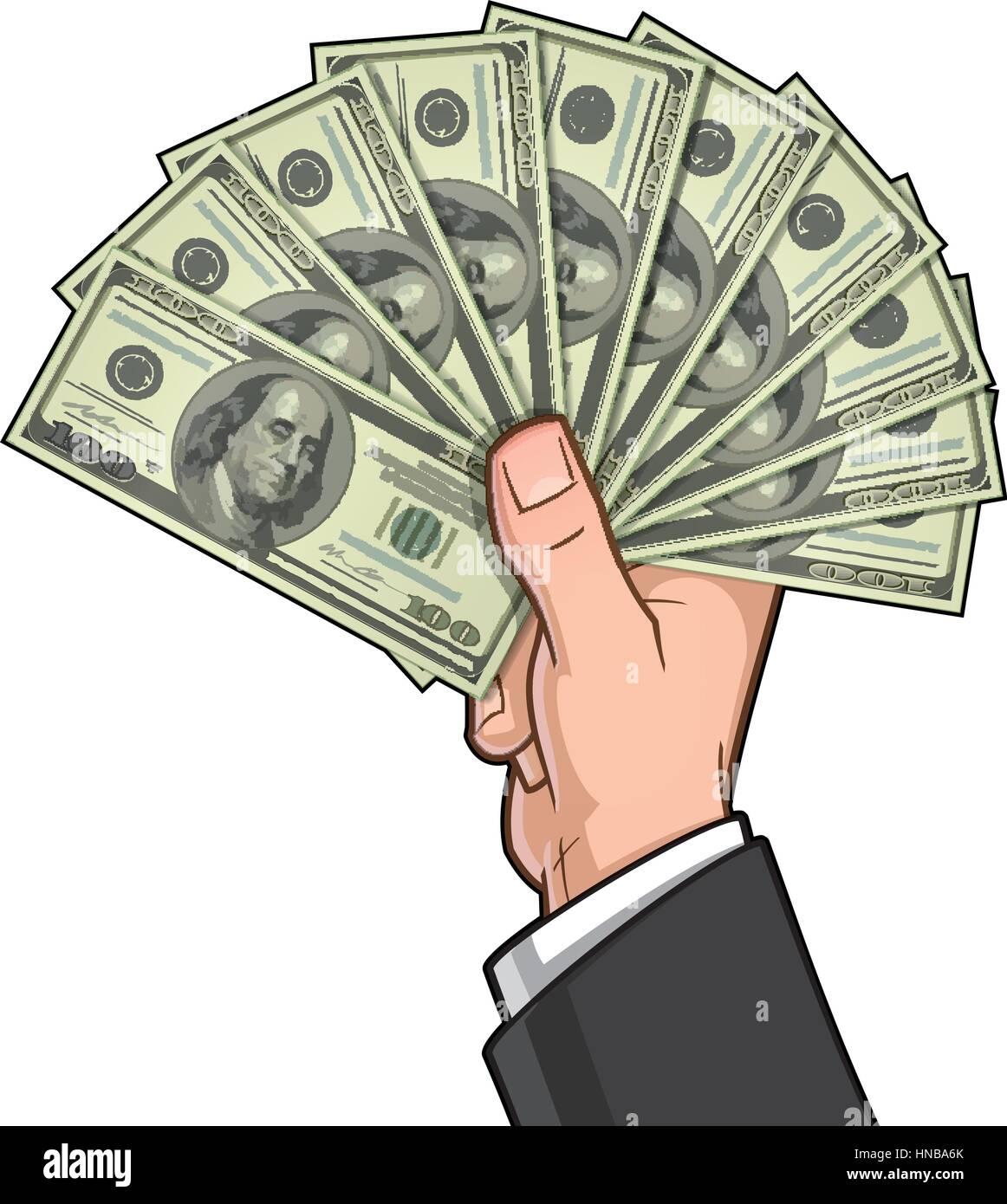 Vector illustration of a businessman's hand holding ten hundred-dollar bills. - Stock Vector