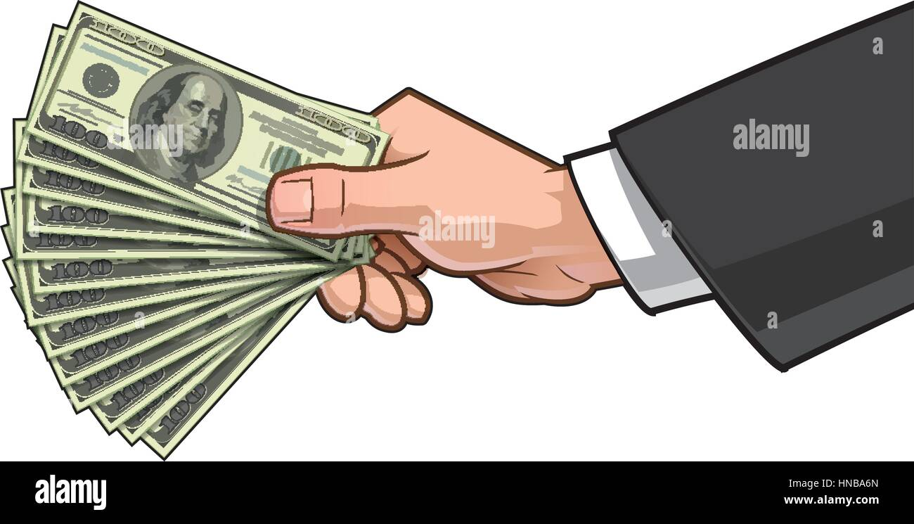 Vector illustration of a businessman's hand giving ten hundred-dollar bills. - Stock Vector