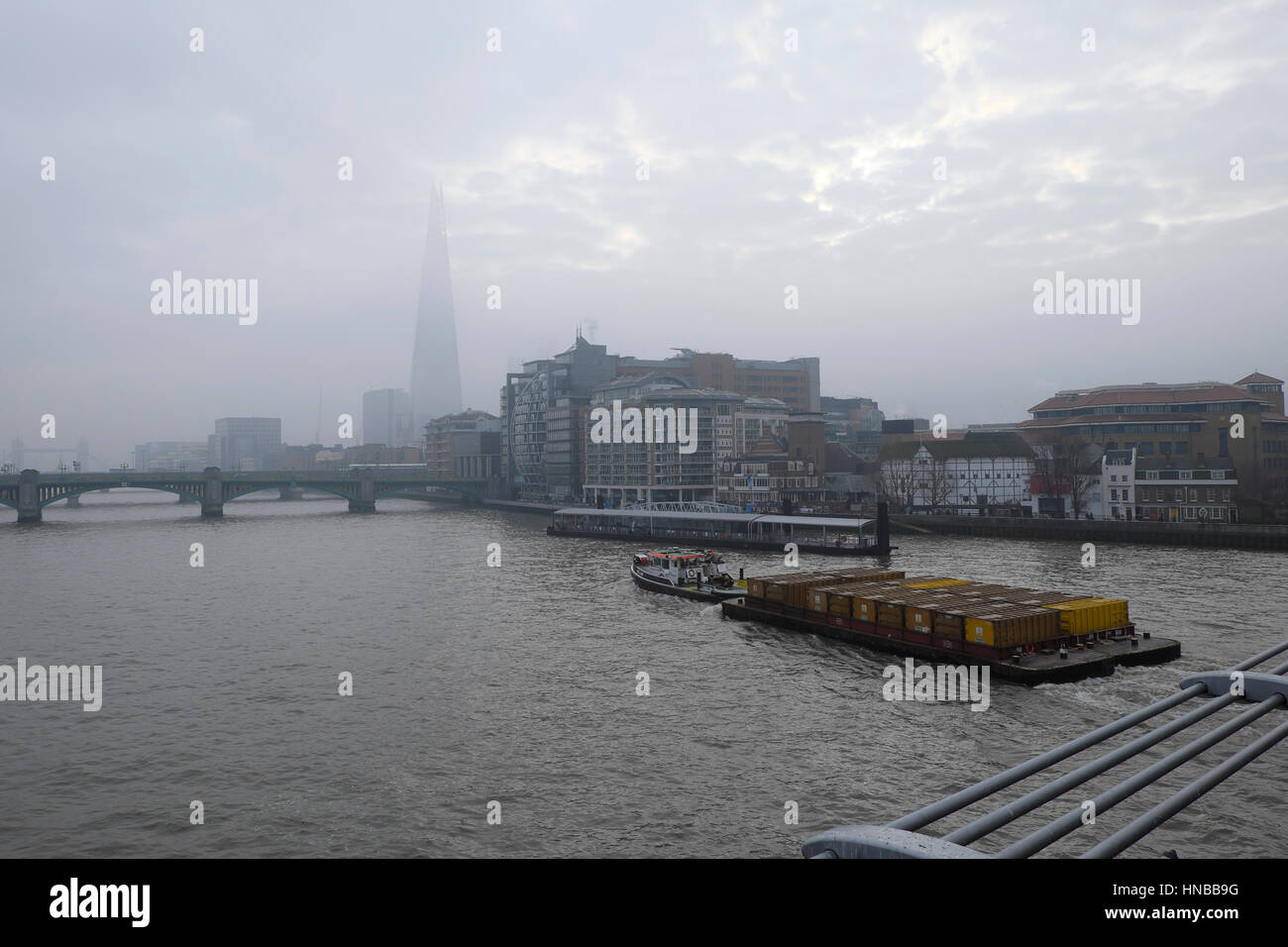 Toxic levels of air pollution over the Shard building and River Thames on 24th January 2017 South London UK   KATHY - Stock Image