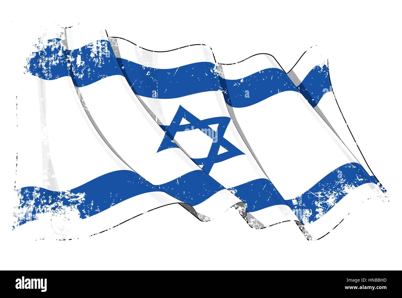 Grunge Vector Illustration of a waving Israeli flag against white background. All elements neatly organized. Texture, - Stock Image