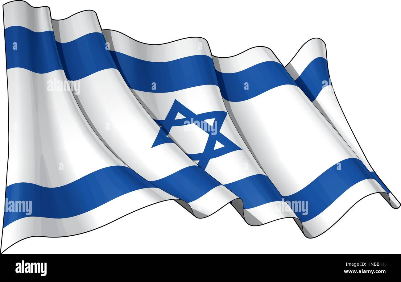 Vector Illustration of a waving Israeli flag. All elements neatly organized. Lines, Shading & Flag Colors on - Stock Vector