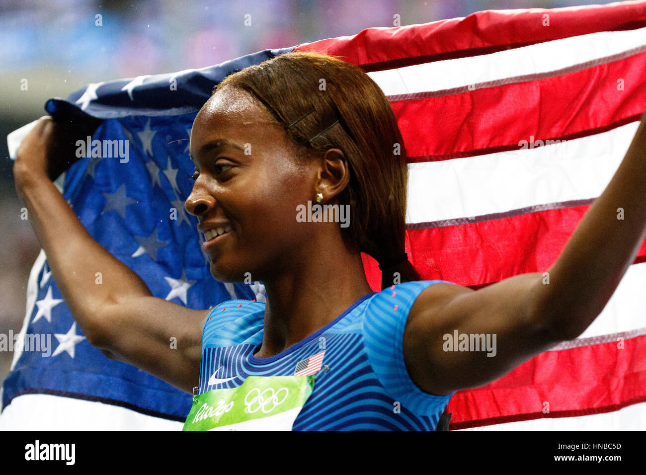 Rio de Janeiro, Brazil. 18 August 2016.  Athletics, Dalilah Muhammad (USA) wins the gold medal in the Women's - Stock Image