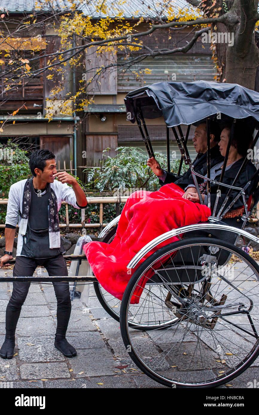 Rickshaw, in Shirakawa-minami-dori, Gion district, Kyoto. Kansai, Japan. - Stock Image